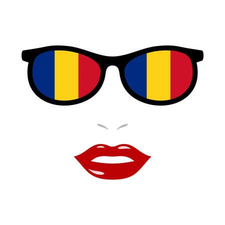 Woman lips and sunglasses with romania flag 版權商用圖片 - 159808197