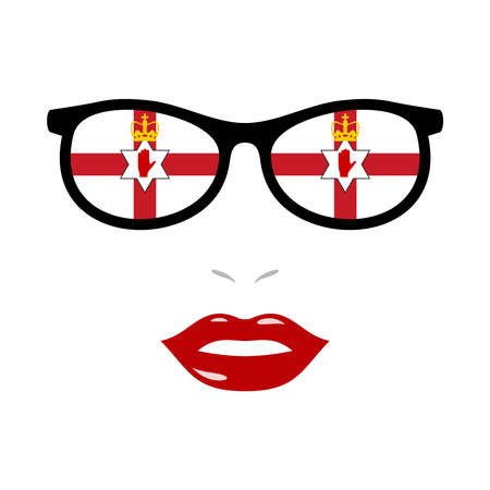 Woman lips and eyeglasses with northern ireland flag