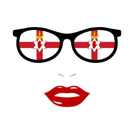 Woman lips and eyeglasses with northern ireland flag 版權商用圖片 - 159808198