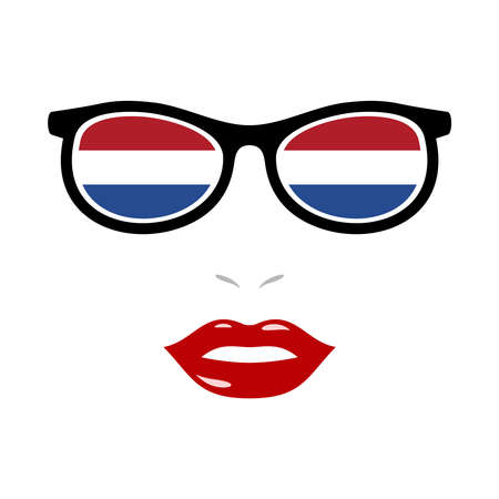 Woman lips and eyeglasses with netherlands flag