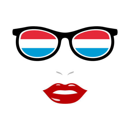 Woman lips and eyeglasses with luxembourg flag 向量圖像