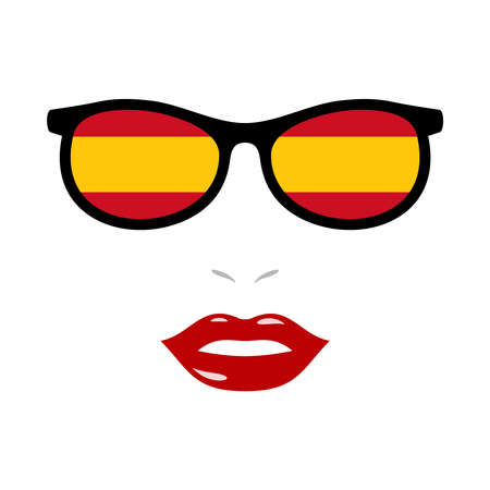 Woman lips and sunglasses with spain flag 版權商用圖片 - 159959457