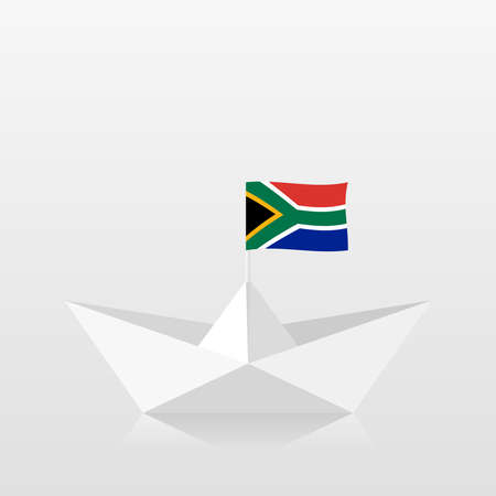 Paper boat with south africa flag