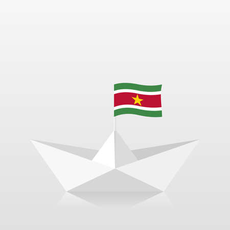 Paper boat with suriname flag