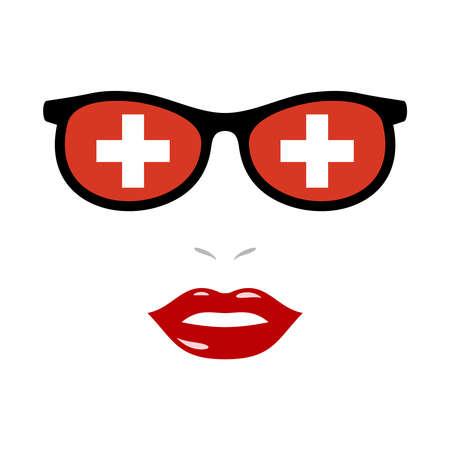 Woman lips and eyeglasses with switzerland flag 向量圖像