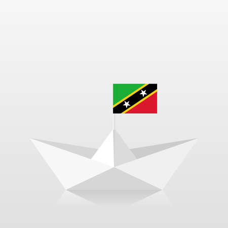 Paper boat with saint kitts and nevis flag