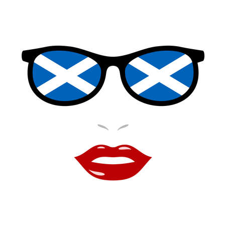 Woman lips and eyeglasses with scotland flag