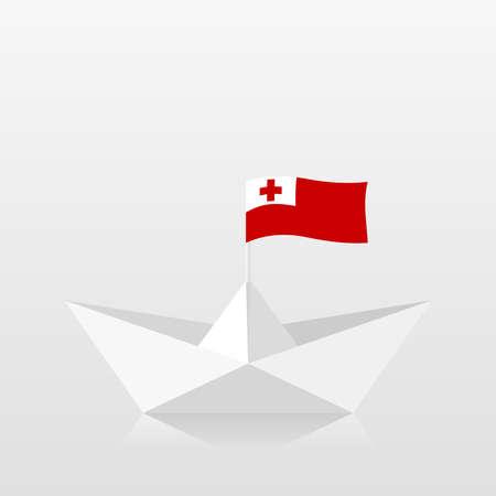 Paper boat with tonga flag 版權商用圖片 - 159959475