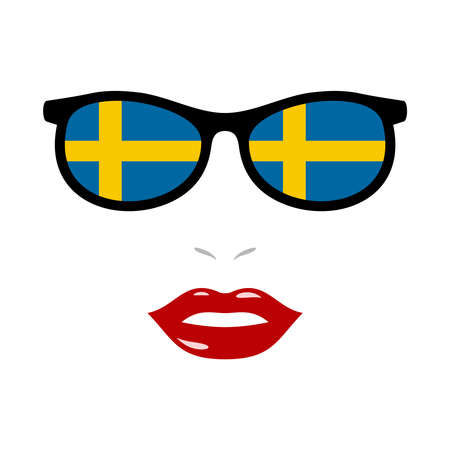 Woman lips and sunglasses with sweden flag 向量圖像