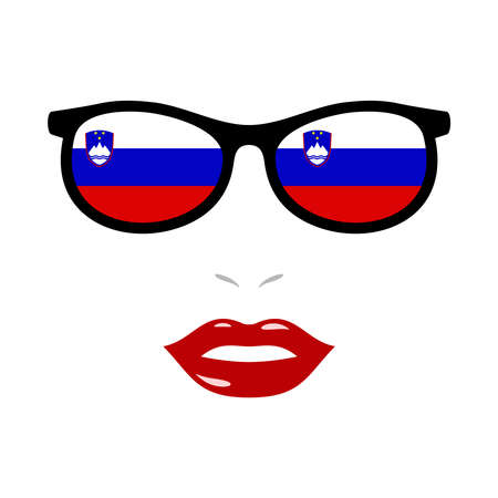 Woman lips and eyeglasses with slovenia flag Illustration