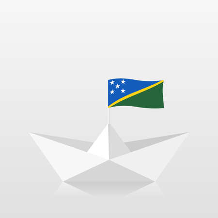 Paper boat with solomon islands flag