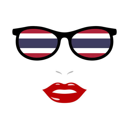 Woman lips and eyeglasses with thailand flag 向量圖像
