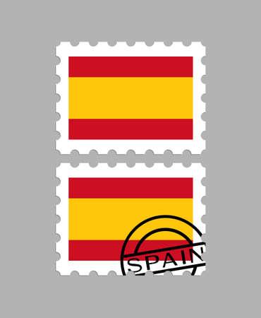 Spain flag on postage stamps
