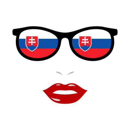 Woman lips and eyeglasses with slovakia flag