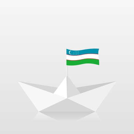Paper boat with uzbekistan flag