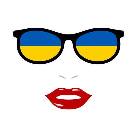 Woman lips and eyeglasses with ukraine flag 版權商用圖片 - 159959487