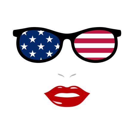 Woman lips and sunglasses with american flag 版權商用圖片 - 159959489