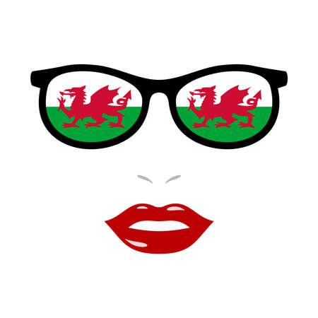 Woman lips and eyeglasses with wales flag 版權商用圖片 - 159959490
