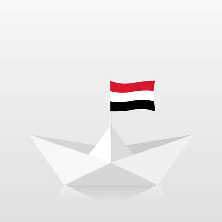 Paper boat with yemen flag