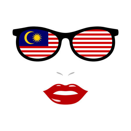 Woman lips and eyeglasses with malaysia flag 向量圖像