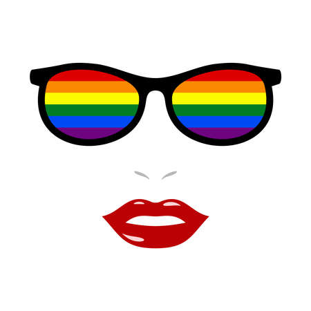Woman lips and eyeglasses with lgbt flag 版權商用圖片 - 159959494