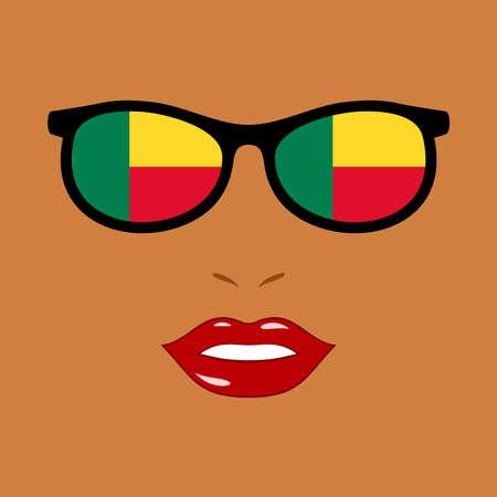 Black woman and eyeglasses with benin flag 向量圖像