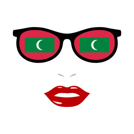 Woman lips and eyeglasses with maldives flag