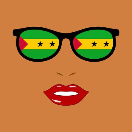 African woman and eyeglasses with sao tome and principe flag