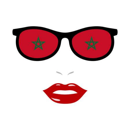 Woman lips and eyeglasses with morocco flag