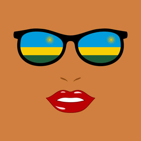 African woman and sunglasses with rwanda flag