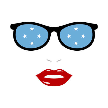 Woman lips and eyeglasses with micronesia flag 向量圖像