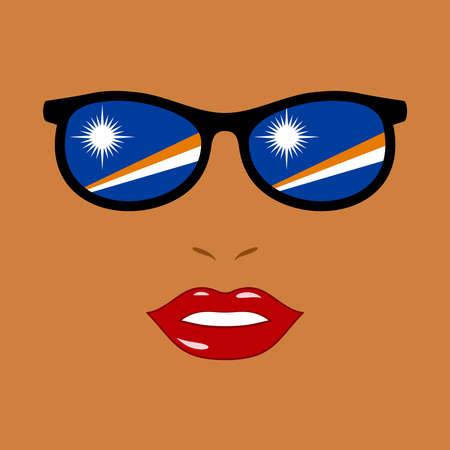 Black woman and eyeglasses with marshall islands flag
