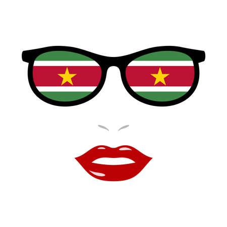 Woman lips and eyeglasses with suriname flag 版權商用圖片 - 159959506
