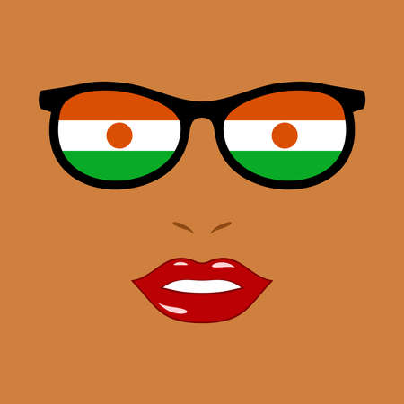 African woman and eyeglasses with republic of the niger flag 版權商用圖片 - 159959513