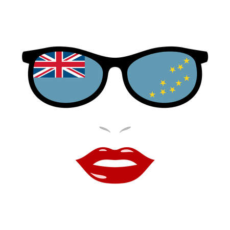 Woman lips and eyeglasses with tuvalu flag