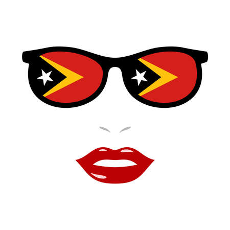 Woman and eyeglasses with east timor flag