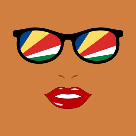 African woman and eyeglasses with seychelles flag 版權商用圖片 - 159959520