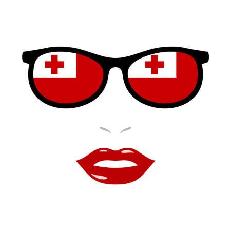 Woman lips and eyeglasses with tonga flag