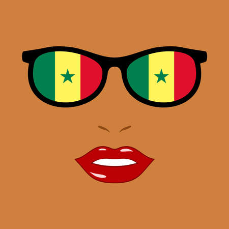 African woman and eyeglasses with senegal flag
