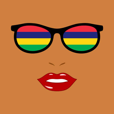 African woman and eyeglasses with mauritius flag 版權商用圖片 - 159959526