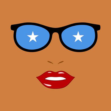 African woman and eyeglasses with somalia flag 向量圖像