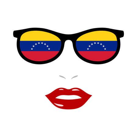 Woman lips and eyeglasses with venezuela flag