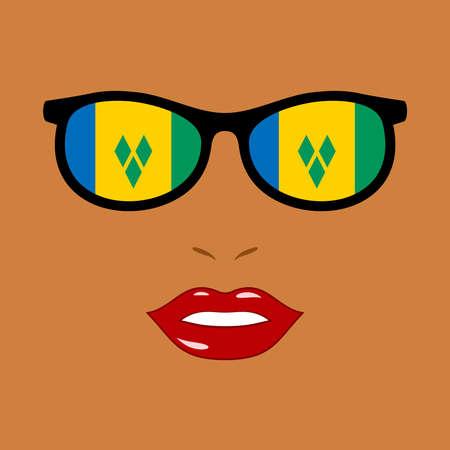 Black woman and eyeglasses with saint vincent and the grenadines flag 版權商用圖片 - 159959529