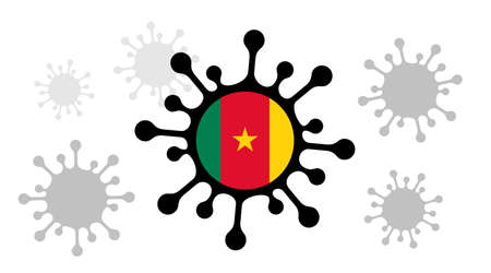 Covid-19 coronavirus icon and cameroon flag