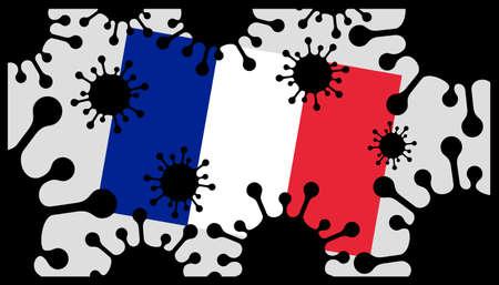 Covid-19 coronavirus pandemic icon and french flag 向量圖像