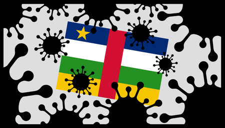Covid-19 coronavirus pandemic icon and central african republic flag