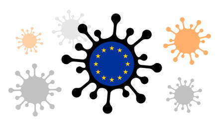 Covid-19 coronavirus icon with european union flag