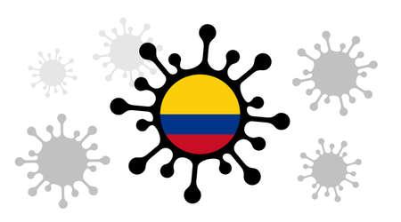 Covid-19 coronavirus icon and colombia flag 向量圖像