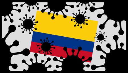 Covid-19 coronavirus pandemic icon and colombian flag 向量圖像