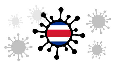 Covid-19 coronavirus icon and costa rican flag
